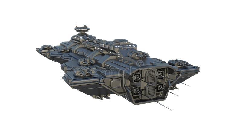 Het ruimteschip die, vreemd die UFOruimtevaartuig tijdens de vlucht vliegen op witte achtergrond, 3D vooraanzicht wordt ge?soleer stock illustratie