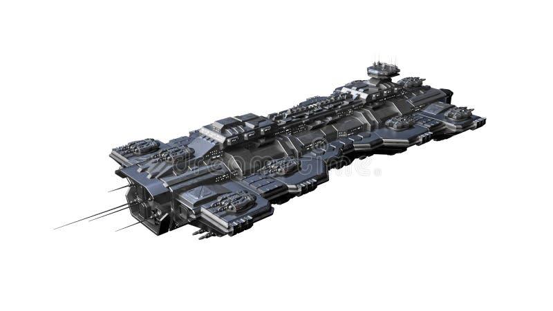 Het ruimteschip die, vreemd die UFOruimtevaartuig tijdens de vlucht vliegen op witte 3D achtergrond wordt ge?soleerd, geeft terug vector illustratie