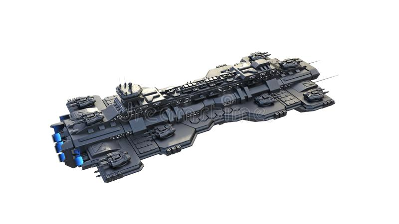 Het ruimteschip die, vreemd UFOruimtevaartuig vliegen dat tijdens de vlucht op witte achtergrond, hoogste 3D mening wordt ge?sole vector illustratie