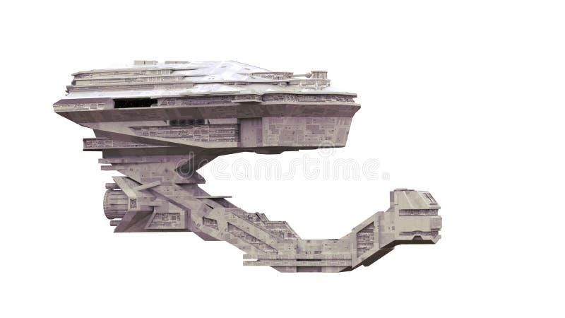 Het ruimteschip, zeer gedetailleerde starship die in ruimte 3d science fiction reizen geeft op witte achtergrond geïsoleerd terug stock illustratie