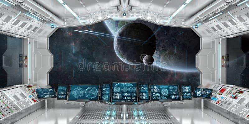 Het ruimteschipbinnenland met mening over ver 3D planetensysteem geeft terug vector illustratie