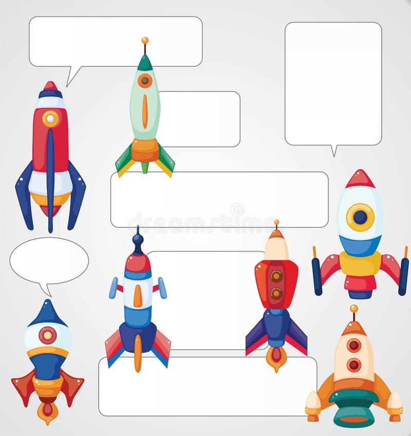 Het ruimteschipkaart van het beeldverhaal royalty-vrije illustratie