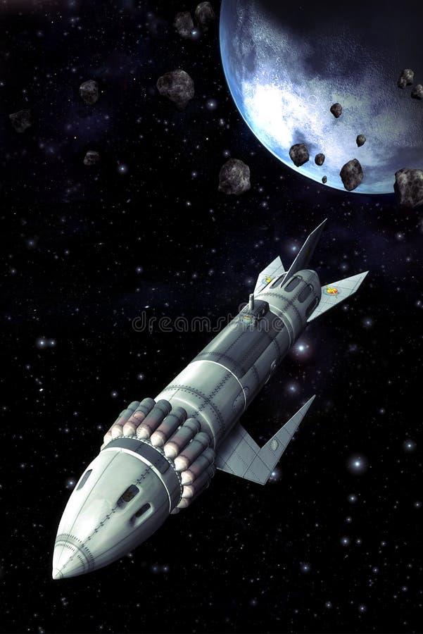 Het ruimteschipwijnoogst van de raket stock illustratie