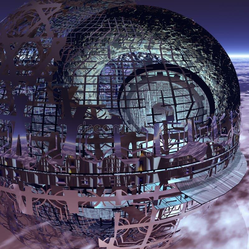 Het ruimteschroot bedreigt de Aarde royalty-vrije illustratie