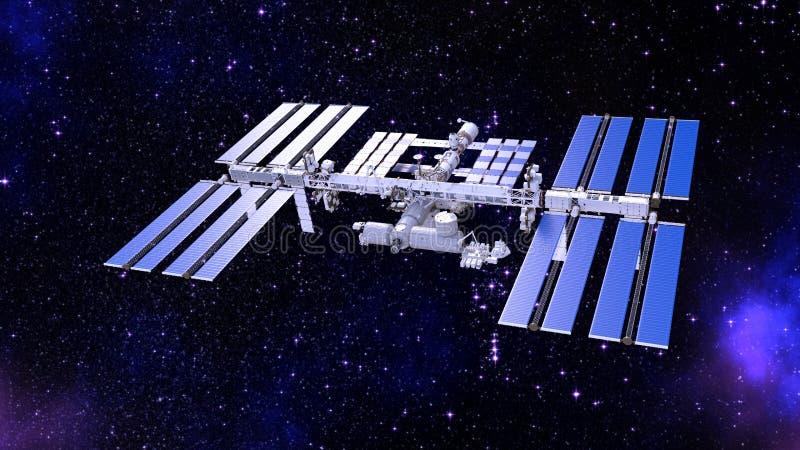 Het ruimtestation, satelliet met zonnepanelen, ruimtebasis in het 3D heelal, geeft terug royalty-vrije illustratie