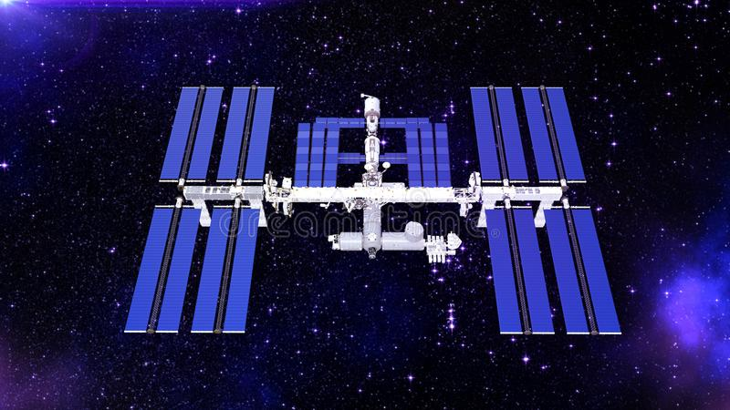 Het ruimtestation, satelliet met zonnepanelen, ruimtebasis in het heelal, hoogste 3D mening, geeft terug royalty-vrije illustratie