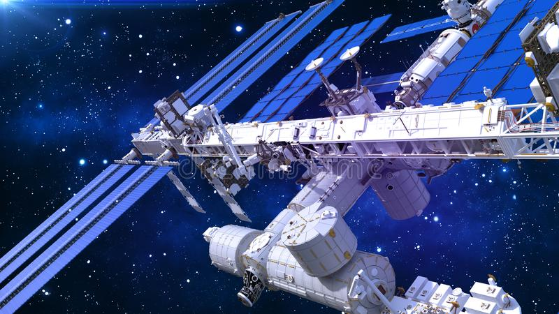 Het ruimtestation, satelliet met zonnepanelen, ruimtebasis in het heelal, sluit omhoog mening, 3D geef terug stock illustratie