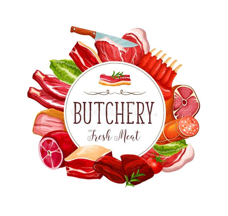 Het rundvlees van het slagerijvlees steakes en varkensvleeslendestukken stock illustratie