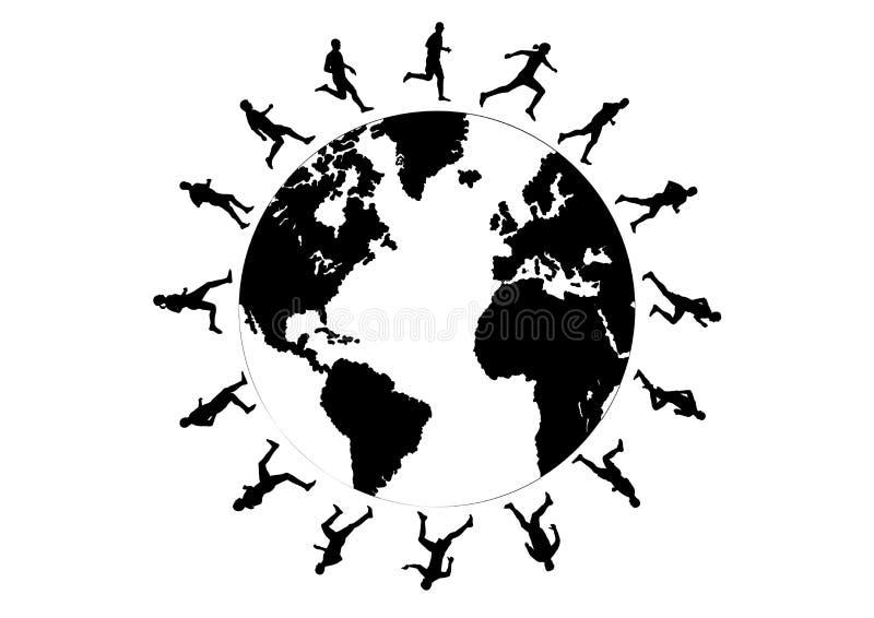 Het runnen van de wereld royalty-vrije illustratie