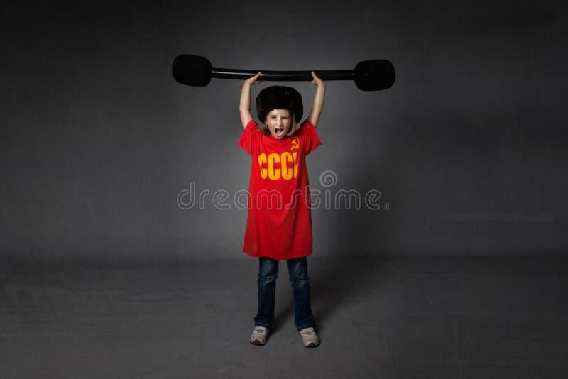 Het Russische atletengewichten opheffen royalty-vrije stock afbeeldingen
