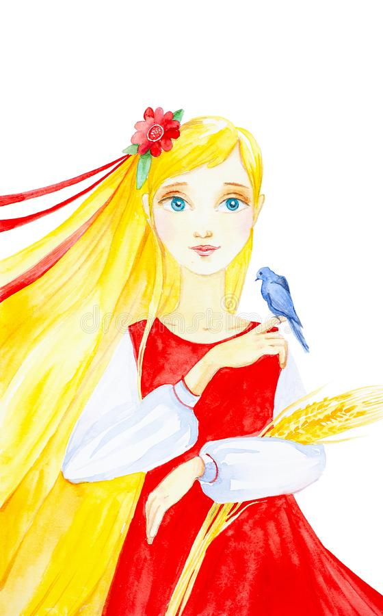 Het Russische mooie meisje met de lange gele oren van de haarholding van tarwe, en zit anderzijds een blauwe vogel In Russische m stock illustratie