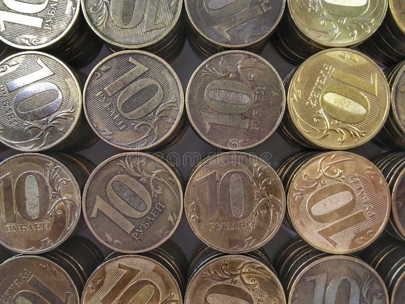 Het Russische muntstuk tien roebels horizontaal kader stock foto's