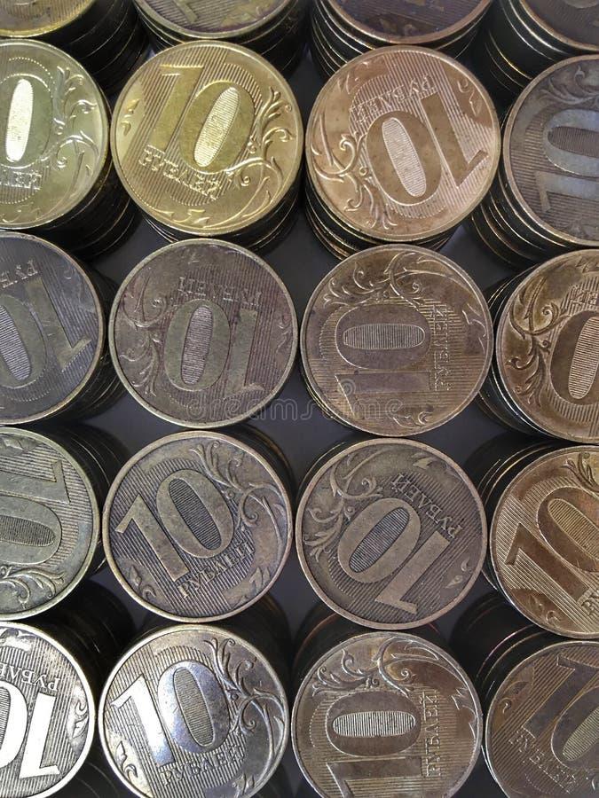 Het Russische muntstuk tien roebels verticaal kader royalty-vrije stock afbeelding