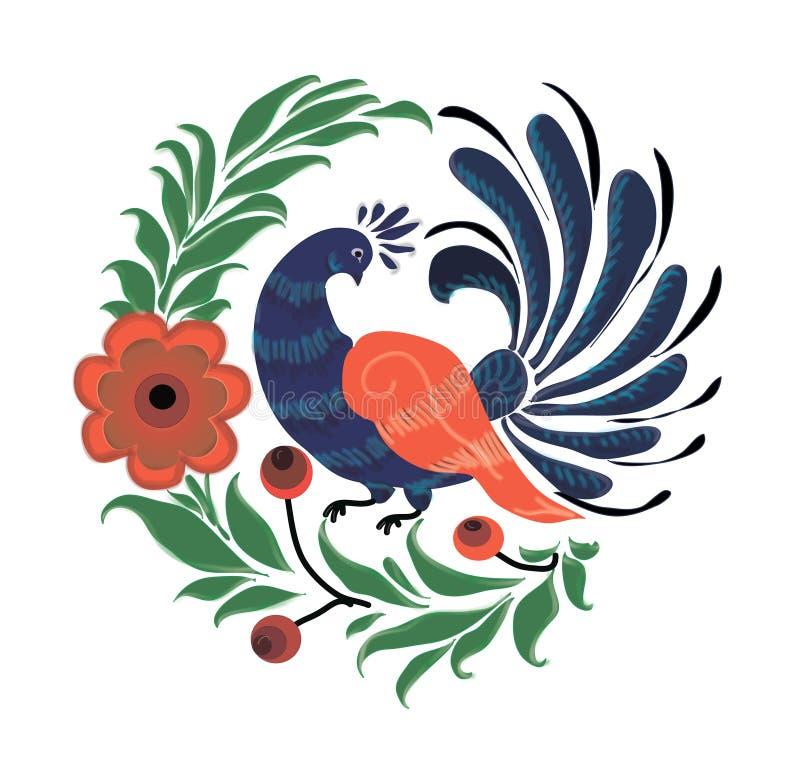 Het Russische symbool is een pauw in bloemen stock foto