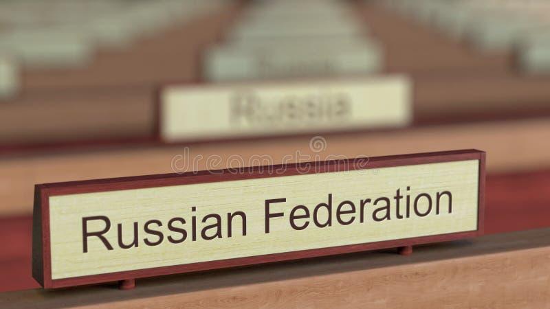 Het Russische teken van de Federatienaam onder de verschillende plaques van landen bij internationale organisatie het 3d teruggev royalty-vrije illustratie