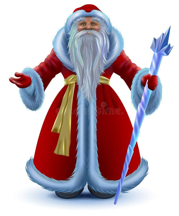 Het Russische vectordiebeeldverhaal van Santa Claus op wit wordt geïsoleerd stock illustratie