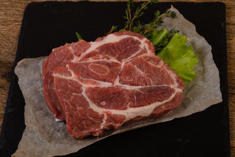 Het ruwe lapje vlees van het Varkensvlees royalty-vrije stock foto's