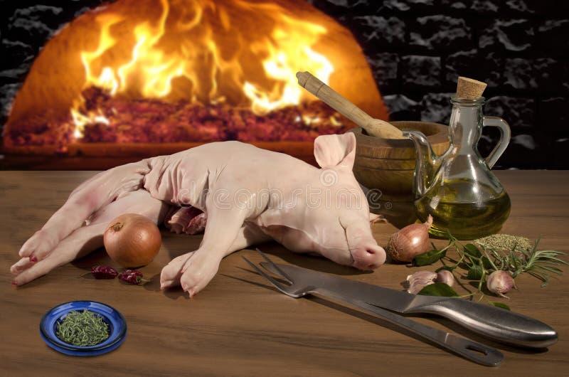 Het ruwe vlees van het zuigelingsvarken royalty-vrije stock afbeelding