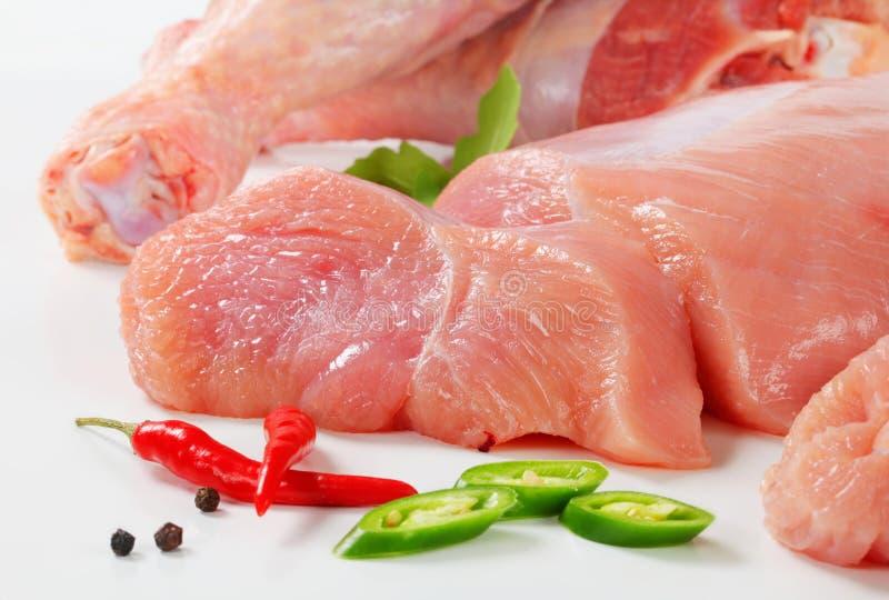Het ruwe vlees van Turkije stock afbeeldingen