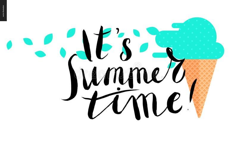 Het s-de zomertijd, het van letters voorzien en muntroomijs vector illustratie