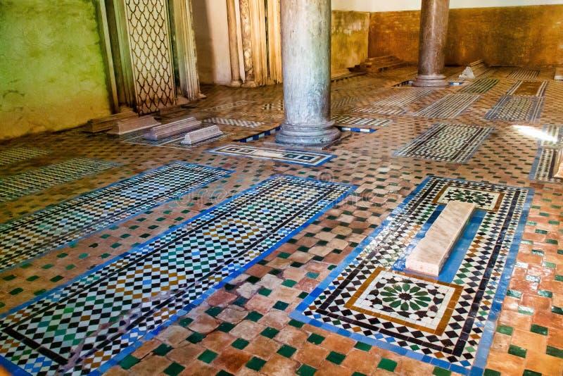 Het Saadian-gravenmausoleum in Marrakech Marokko, Afrika stock afbeeldingen