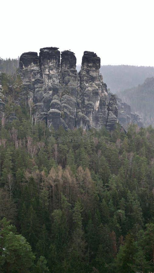 Het Saksische Nationale Park van Zwitserland is een vorming van zandige rotsen stock afbeeldingen