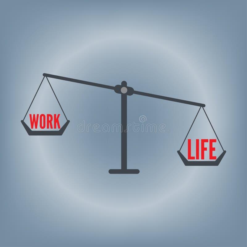 Het saldo die van het het werkleven op het concept van de gewichtsschaal, vectorillustratie op vlakke ontwerpachtergrond verwoord royalty-vrije illustratie