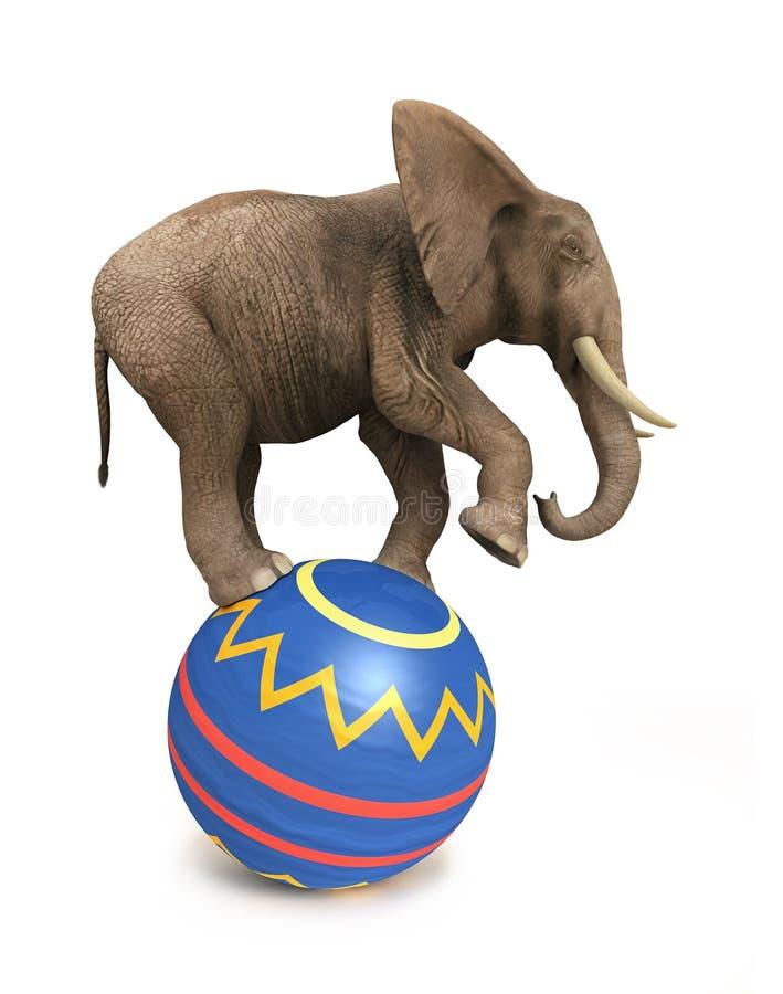 Het saldo van de olifant op bal royalty-vrije illustratie