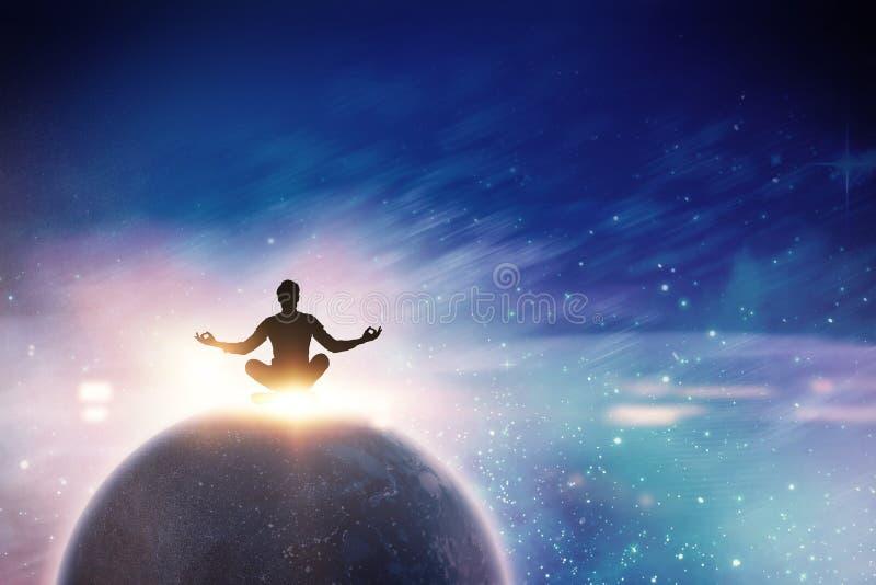 Het samengestelde beeld die van zenzakenman in yoga mediteren stelt royalty-vrije stock afbeeldingen