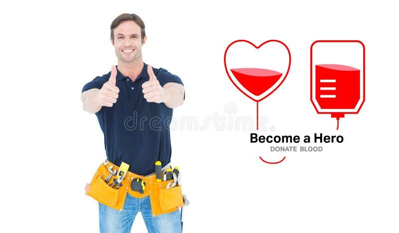 Het samengestelde beeld van de mens die hulpmiddelriem dragen terwijl het tonen van duimen ondertekent omhoog stock illustratie