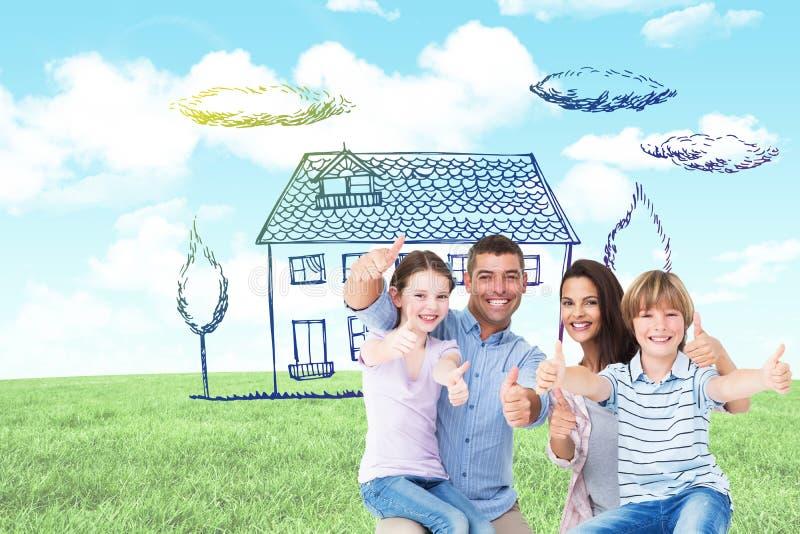 Het samengestelde beeld van het gelukkige familie gesturing beduimelt omhoog stock foto
