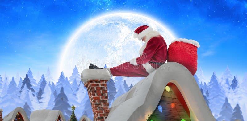 Het samengestelde beeld van santa zit geleund op zijn zak stock fotografie