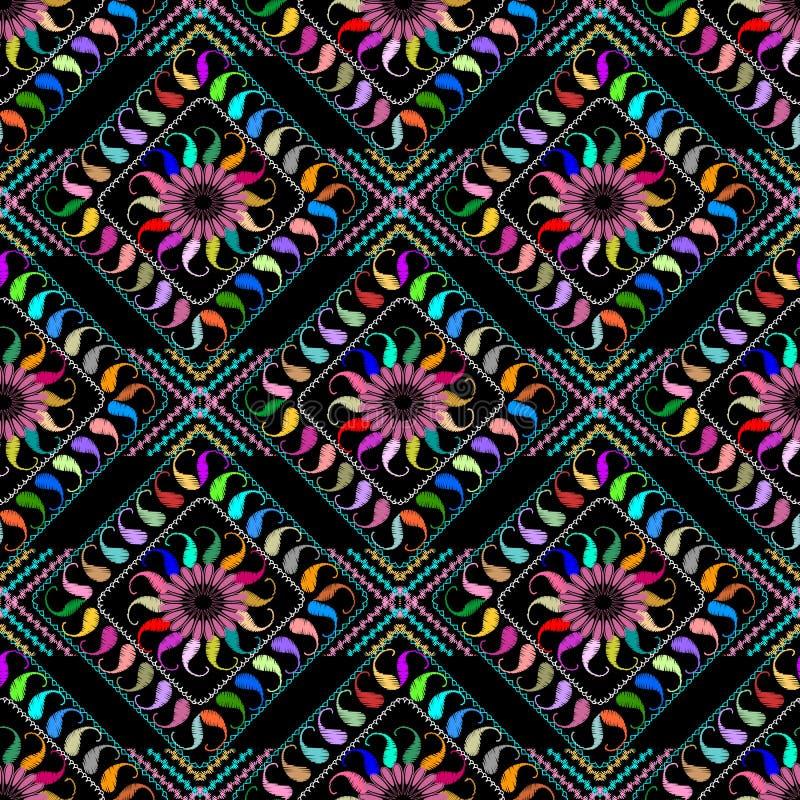 Het samenvatting geborduurde naadloze patroon van Paisley Vector kleurrijk p royalty-vrije illustratie