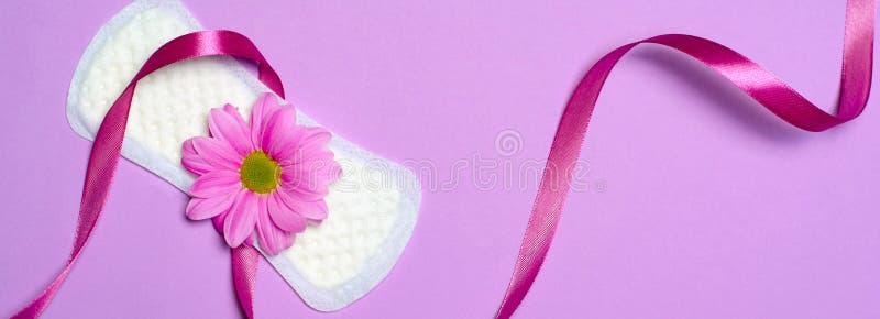 Het Sanitaire Stootkussen en Gerbera Daisy Flower, Vrouwelijk Hygiëneconcept van de vrouw stock afbeelding
