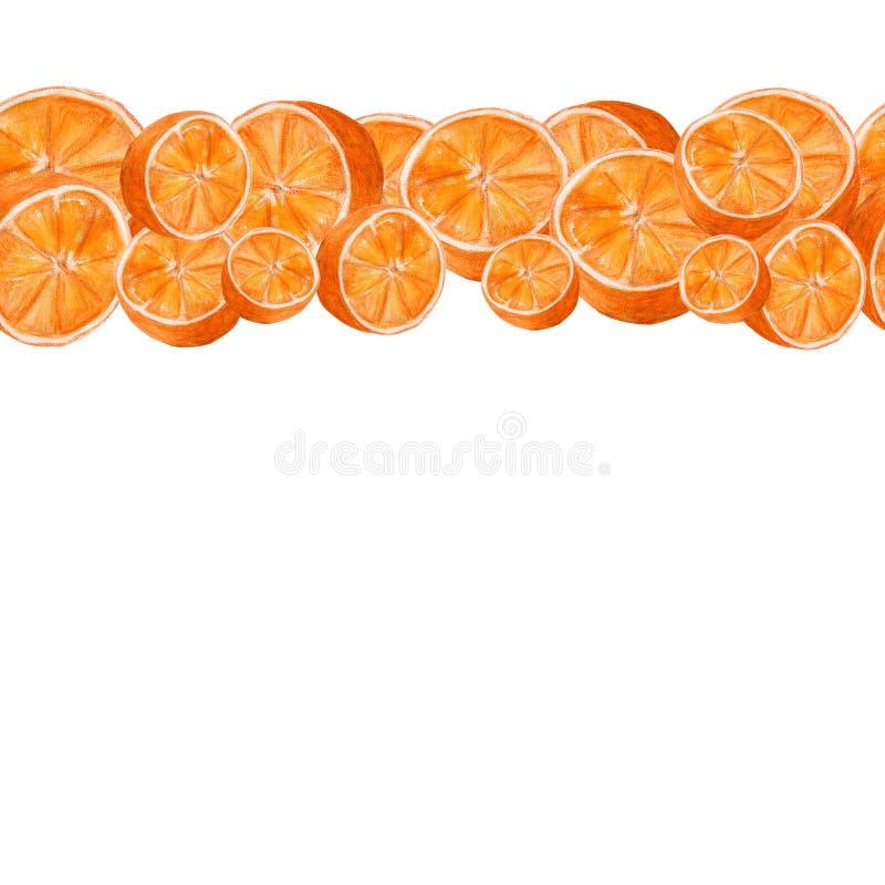 Het sappige art. van de sinaasappelenwaterverf Hand getrokken naadloos patroon met citrusvruchten op de witte achtergrond stock illustratie