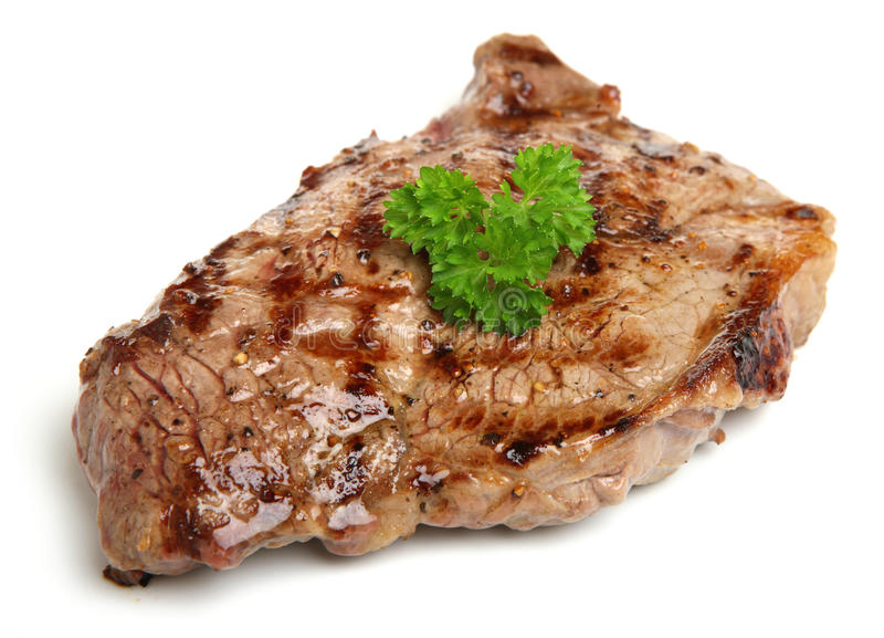 Het sappige die Lapje vlees van het Lendestukrundvlees op Wit wordt geïsoleerd royalty-vrije stock afbeelding