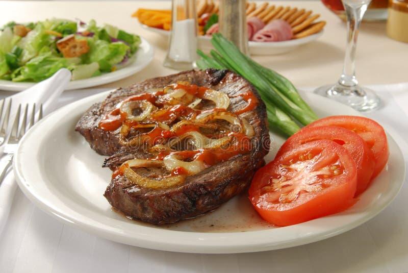 Het sappige Diner van het Lapje vlees royalty-vrije stock fotografie