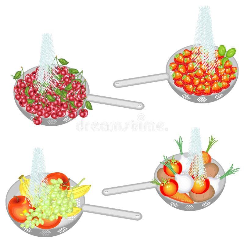 Het sappige fruit wordt gewassen onder lopend water Inzameling van de kersen van de vergietwas, aardbeien, vruchten, groenten Ver vector illustratie