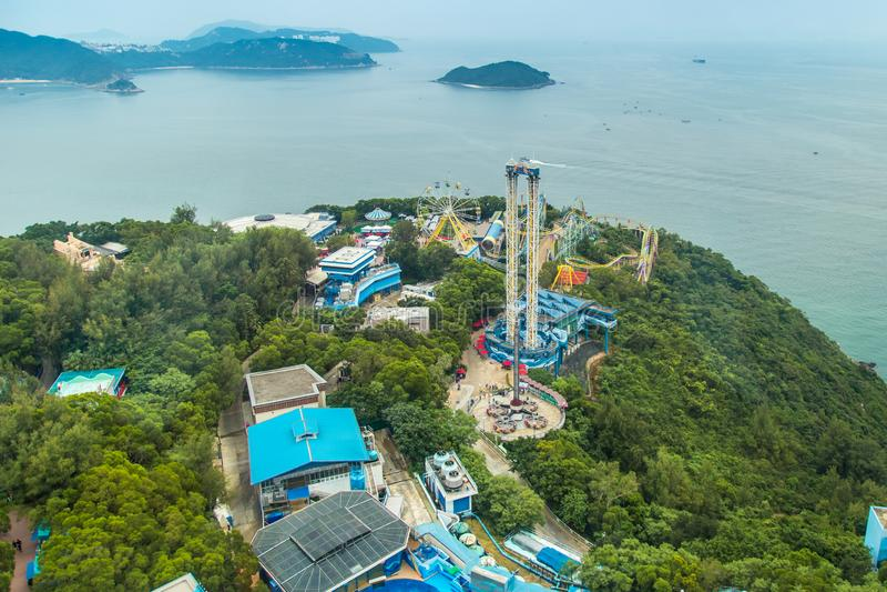 Is het satellietbeeld Oceaanpark één van de twee grote themaparken in Hong Kong, China Juli 2018 stock foto