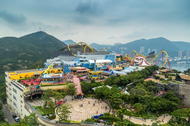 Is het satellietbeeld Oceaanpark één van de twee grote themaparken in Hong Kong, China Juli 2018 royalty-vrije stock foto's