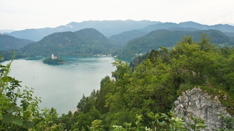 Het satellietbeeld van Meer tapte, klip, Julian Alps-bergen en kerk op het Afgetapte eiland af, Slovenië royalty-vrije stock fotografie