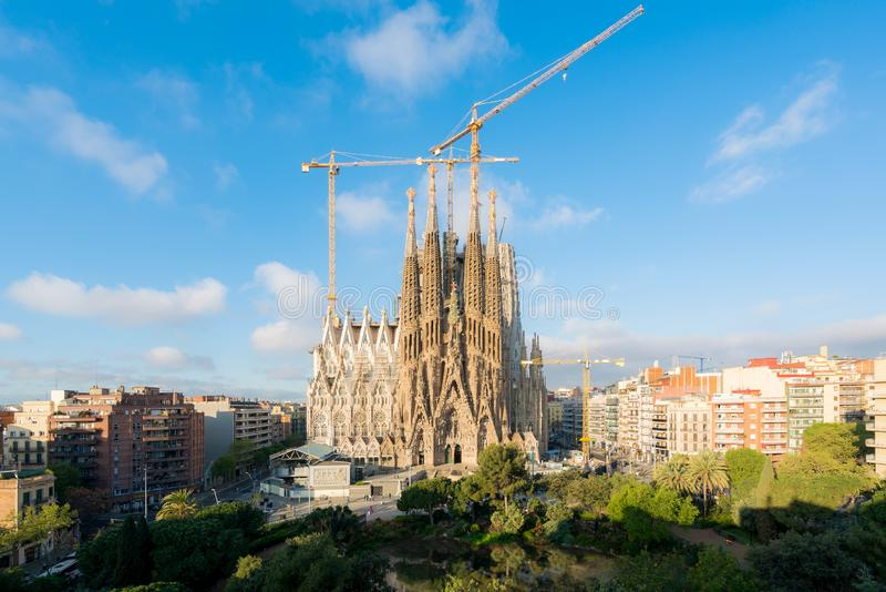 Het satellietbeeld van Sagrada Familia, een grote Rooms-katholieke kerk in Barcelona, Spanje, ontwierp door Catalaanse architect  stock afbeelding