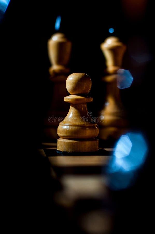 Het schaak is een spel van de logicaraad met speciale stukken die op een 64 celraad voor twee tegenstanders, elementen van kunst, stock foto's