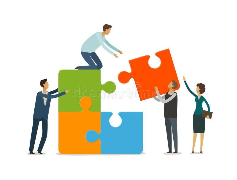 Het schaak stelt bischoppen voor Bedrijfsmensen die met raadselstukken samenwerken Infographics vectorillustratie vector illustratie