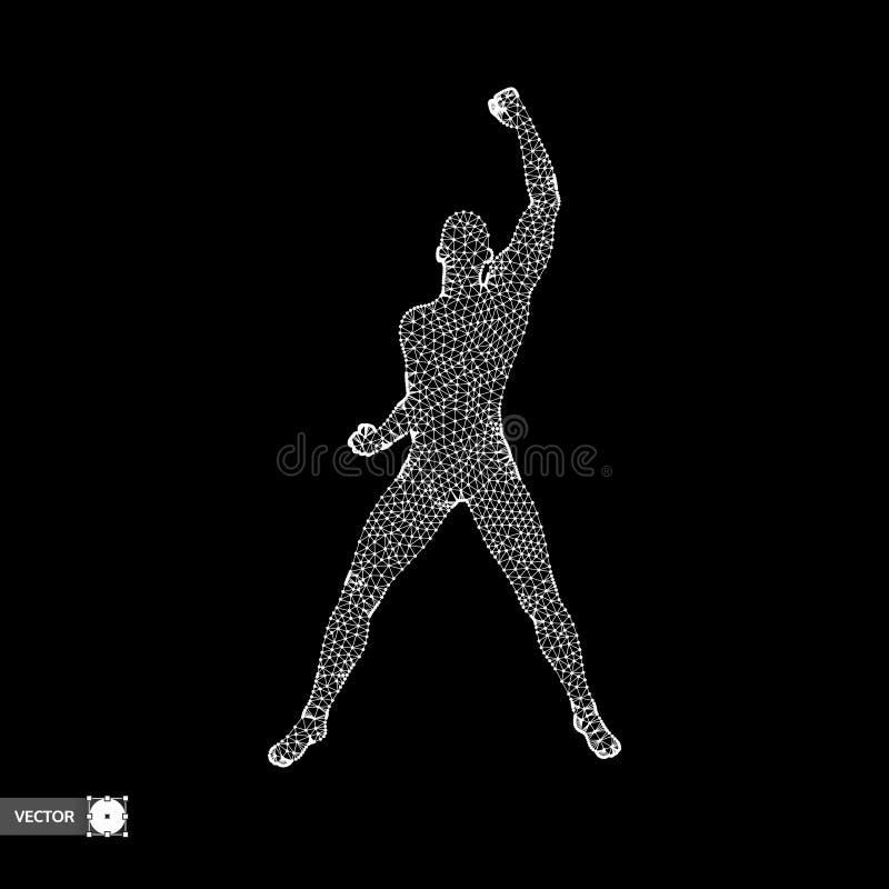 Het schaak stelt bischoppen voor Bevindende mens Mens met omhoog wapen Silhouet voor sportkampioenschap Vector illustratie stock illustratie