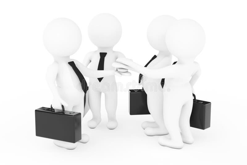 Het schaak stelt bischoppen voor 3d Businessmans Team Joining Hands 3D renderi stock illustratie