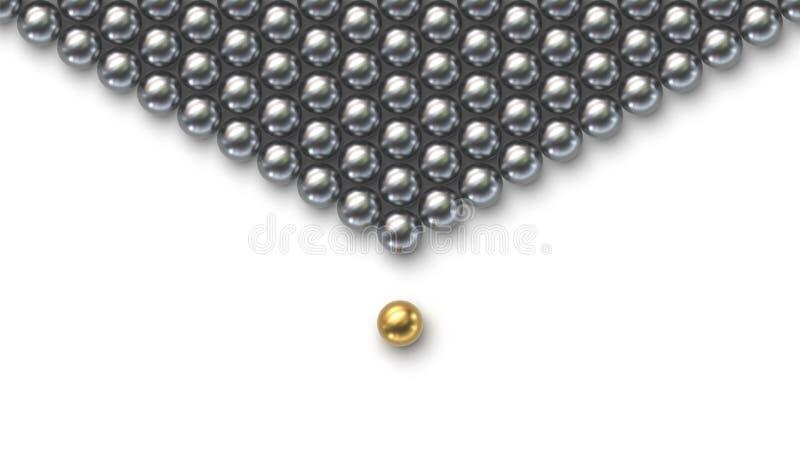 Het schaak stelt bischoppen voor Gouden leidersbal die van de menigte van zilveren ballen duidelijk uitkomen stock illustratie