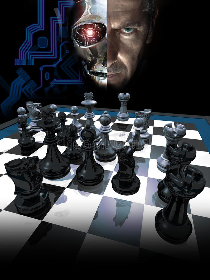Het schaak van de computer stock illustratie