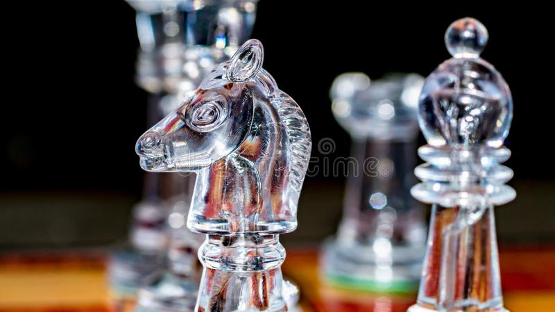 Het schaak van het glaskristal royalty-vrije stock foto's