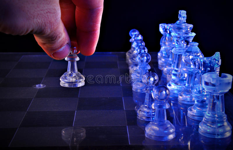 Het schaak van het glas royalty-vrije stock afbeelding